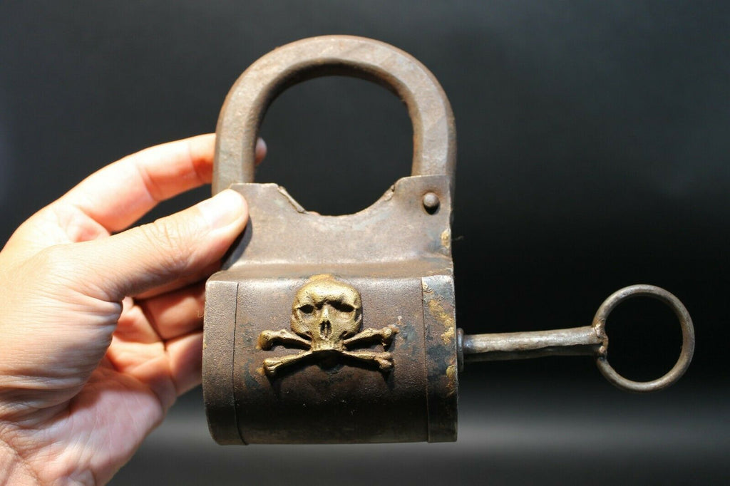Antique Vintage Style Wrought Iron Trunk Pirate Chest Lock Key Padlock Crossbone - Early Home Decor