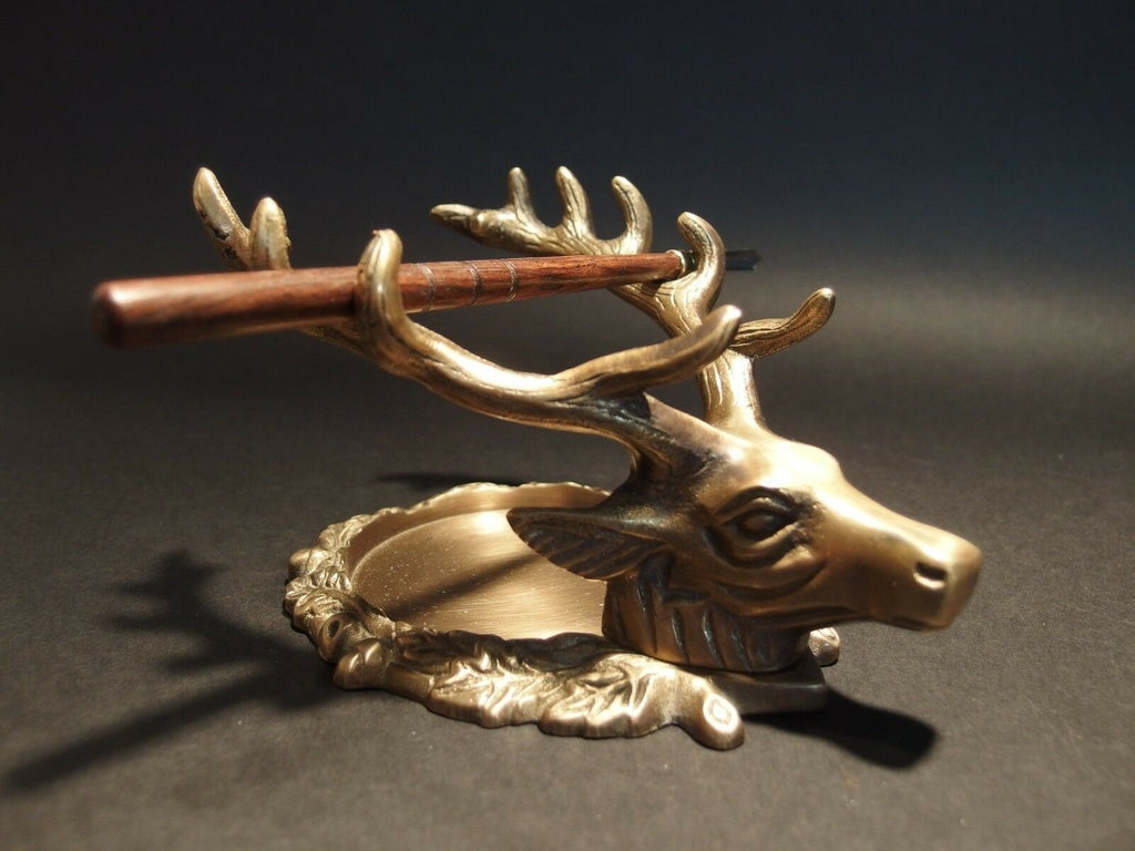 Antique Style Brass Elk Deer Stag Pen Inkwell Holder Desk Stand - Early Home Decor