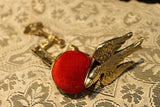 Antique Style Ornate Brass Sewing Clamp Pin Cushion w Bird Clip - Early Home Decor
