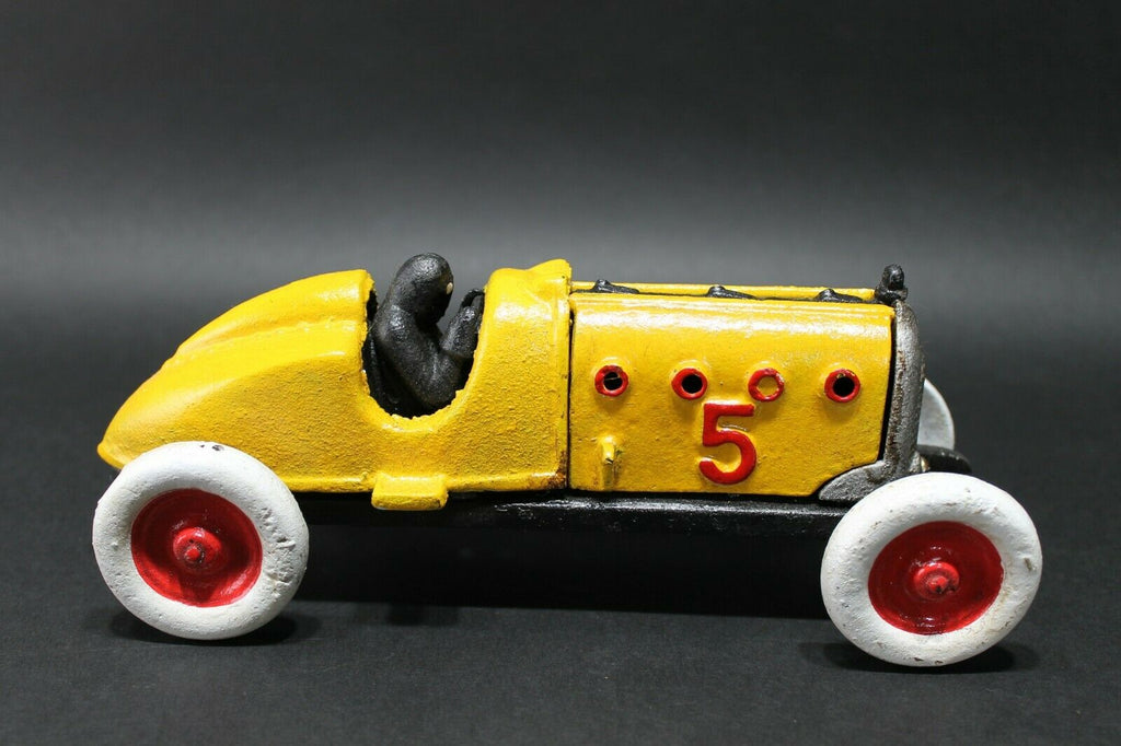 Antique Vintage Style Yellow Cast Iron #5 Toy Race Car w Lifting Hood - Early Home Decor