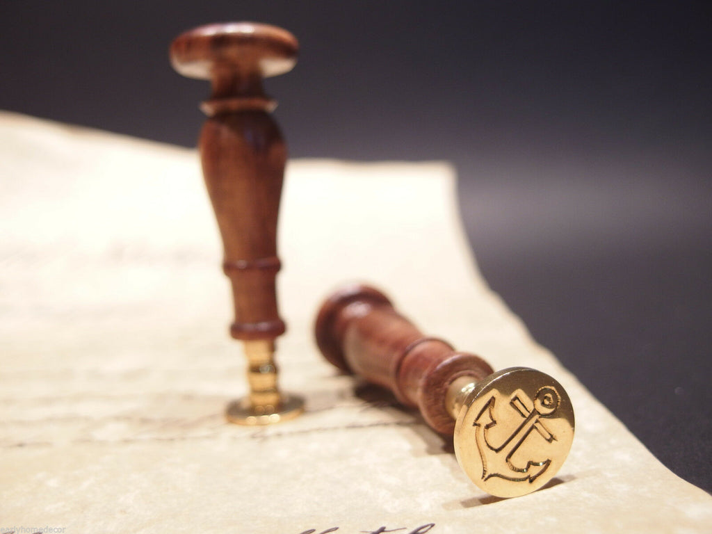 (1) Antique Vintage Style Wax Seal Brass Letter Stamp Nautical Marine Anchor - Early Home Decor