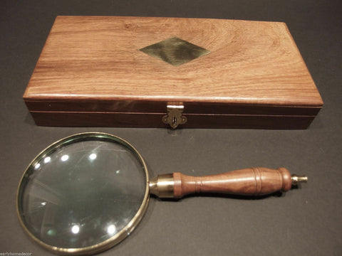 "4"" 5x Antique Style Magnifying Glass Brass w Wood Turned Hand Lens Desktop Box - Early Home Decor"