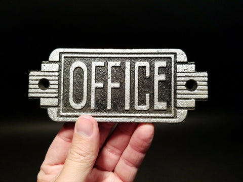 Vintage Antique Style Cast Iron Retro Office Door Sign