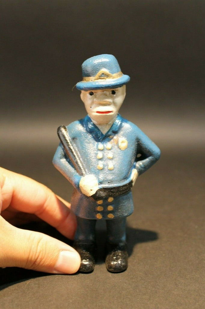Antique Vintage Style Cast Iron Coin Bank Policeman