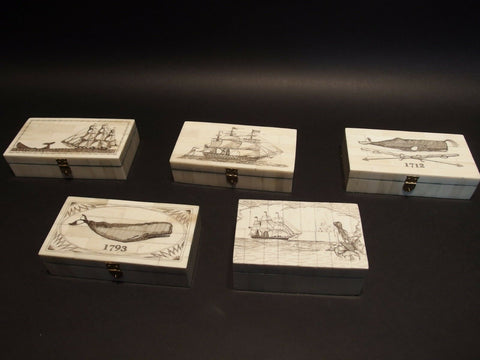 5 Antique Style Folk Art Sail Ship Scrimshaw Etched Bone & Wood Trinket Box set - Early Home Decor