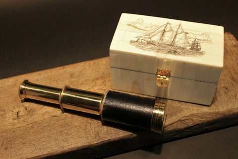 Vintage Antique Style Schooner Sail Ship Bone & Wood Scrimshaw Box w Telescope - Early Home Decor