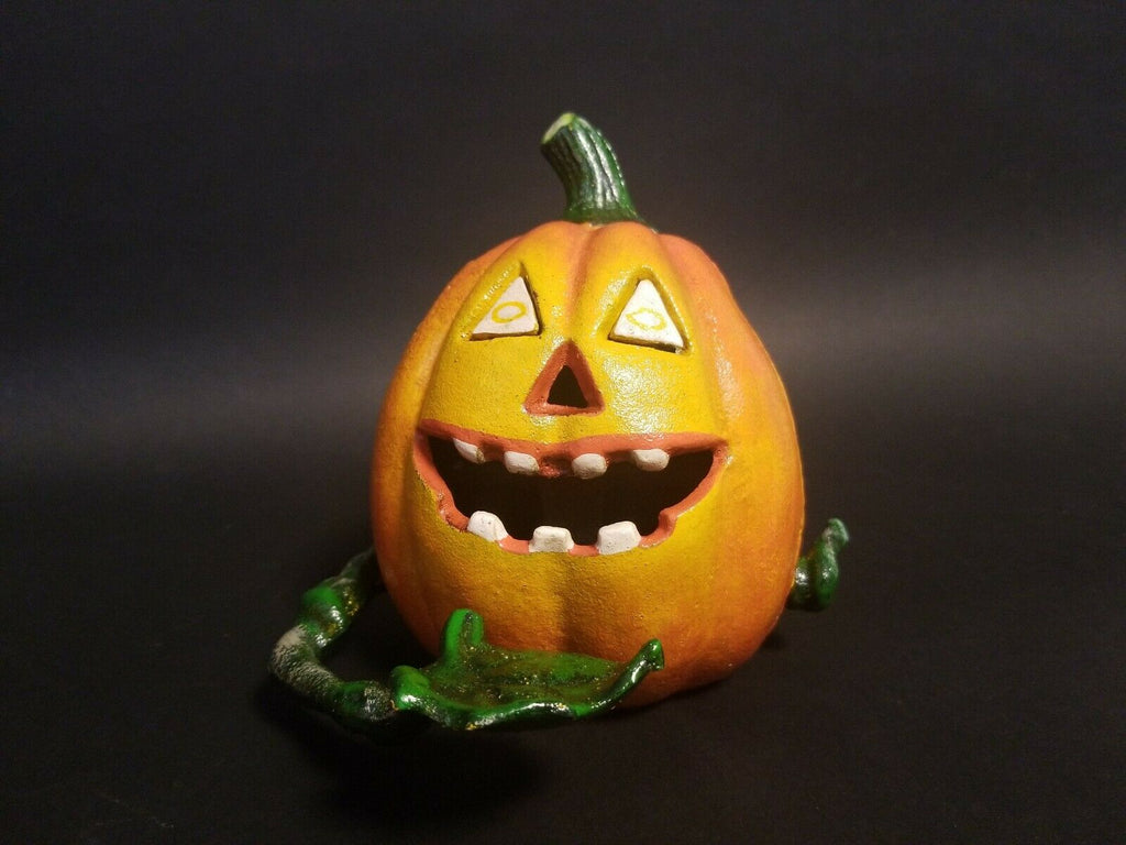 Vintage Antique Style Cast Iron Halloween Pumpkin Mechanical Coin Bank - Early Home Decor
