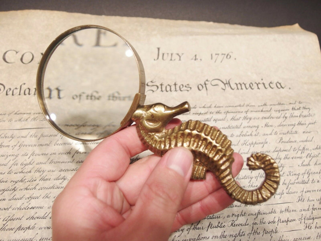 Vintage Antique Style Brass Seahorse Magnifying Glass Desk Hand Lens - Early Home Decor
