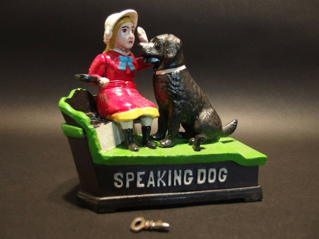 "Vintage Antique Style Cast Iron ""Speaking Dog"" Coin Bank Shephard Hardware 1897 - Early Home Decor"