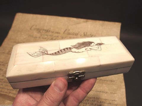 Antique Style Mermaid Scrimshaw Etched Bone & Wood Trinket Stamp Jewelry Box - Early Home Decor