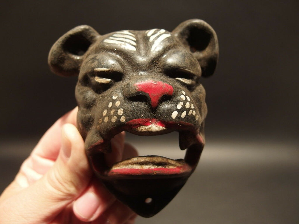 Antique Vintage Style Cast Iron wall mount folk art Bulldog Beer Bottle Opener - Early Home Decor