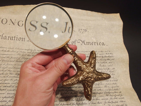 Vintage Antique Style Brass Starfish Magnifying Glass Desk Hand Lens