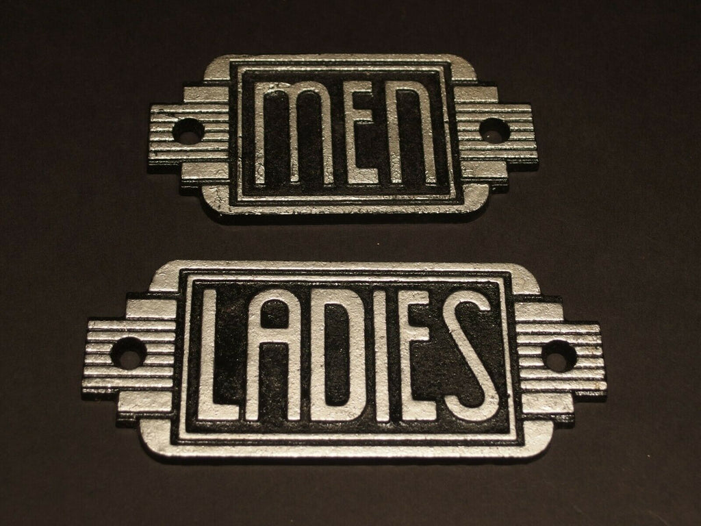 Vintage Antique Style Cast Iron Bathroom Retro Men & Ladies Toilet Signs - Early Home Decor