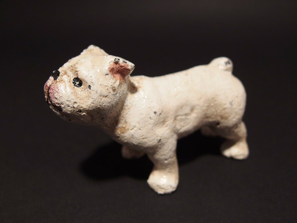 Vintage Antique Style Miniature Cast Iron White Bull Dog - Early Home Decor