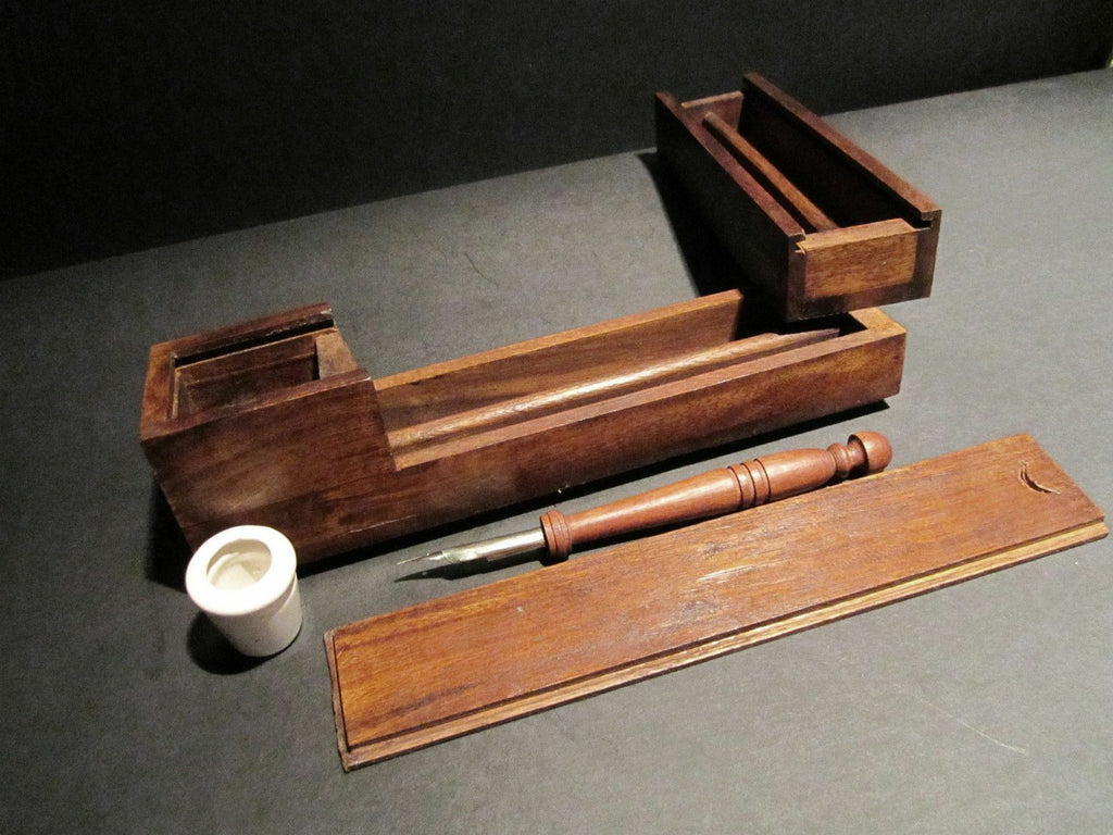 Antique Style Wood Slide Lid Swing Open Writing Box Campaign Inkwell w Dip Pen - Early Home Decor