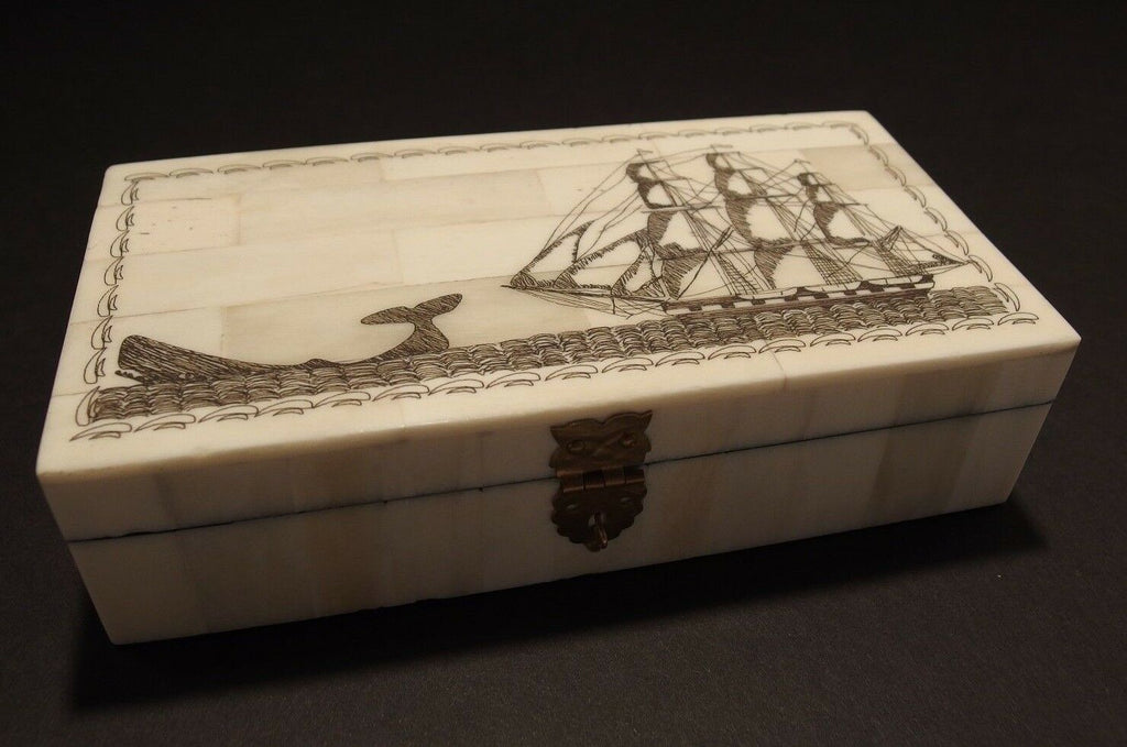 Antique Style Folk Whale Chase Scrimshaw Bone & Wood Trinket Box - Early Home Decor