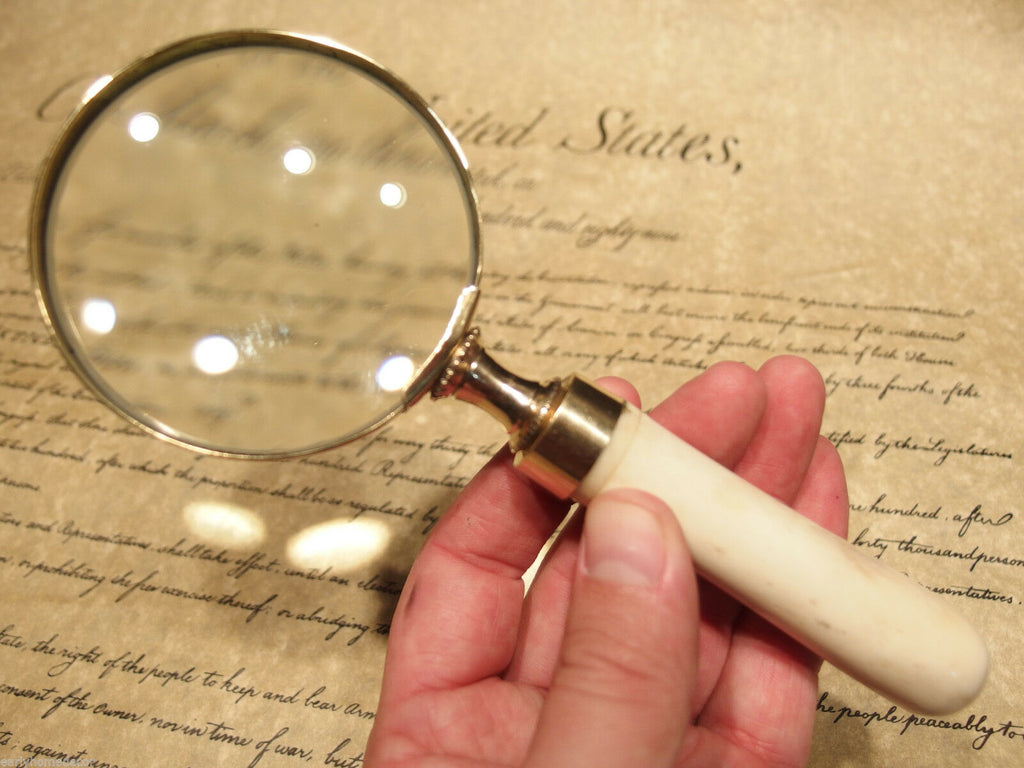 "Antique Style 3"" Brass Bone Handle Magnifying glass Desk Magnifier - Early Home Decor"