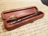 Vintage Antique Style Turned Wood Calligraphy Pen w Box set - Early Home Decor