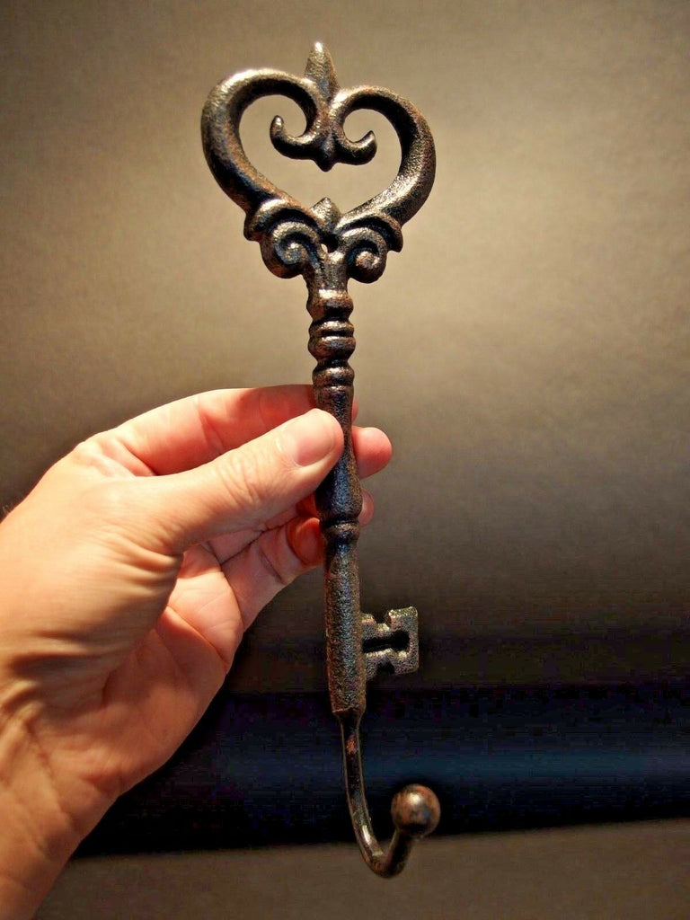 Antique Style Cast Iron Large Skeleton Church Key Door Wall Coat Towel Hook - Early Home Decor