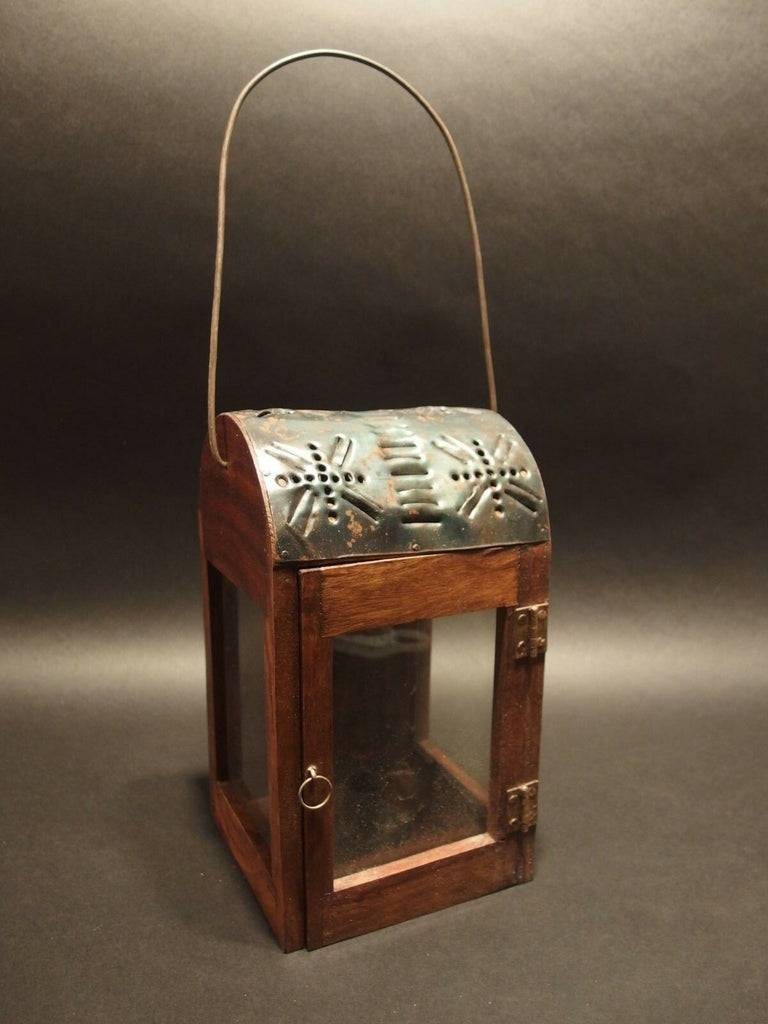 Antique Style Wood Punched Tin Glass Lantern Lamp Candle Holder - Early Home Decor