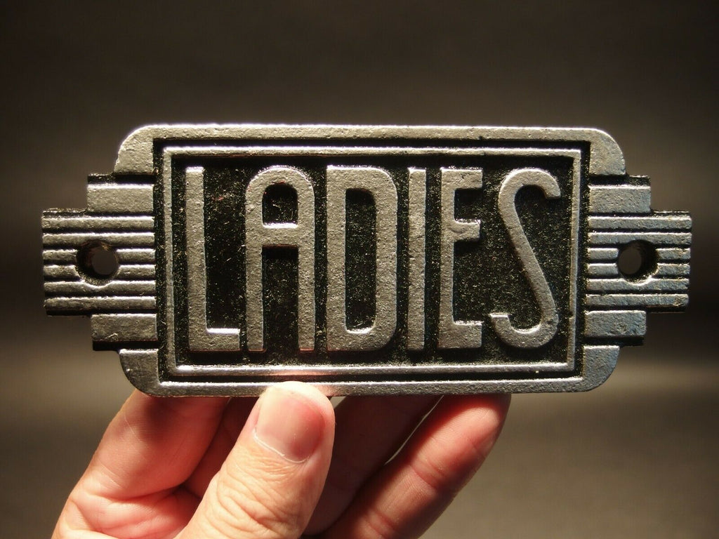 Vintage Antique Style Cast Iron Bathroom Retro Ladies Toilet Sign - Early Home Decor