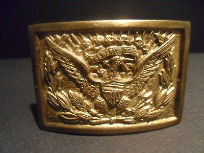 Antique Vintage Style Civil War Belt Buckle Plate SOLID Brass American Eagle - Early Home Decor