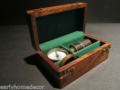Antique Vintage Style Magnifying Glass Compass Telescope Wood Box Kit - Early Home Decor
