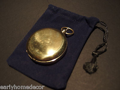 Antique Style Solid Brass Pocket Compass Flip Lid Signal