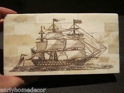 Antique Style Folk Art Sail Ship Scrimshaw Bone & Wood Trinket Box - Early Home Decor