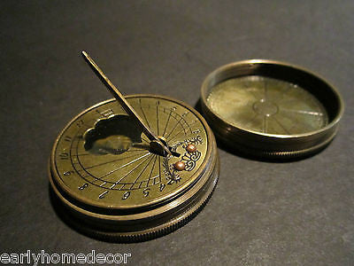 Antique Style Solid Brass Timekeeping Sundial with Top Pocket Compass Watch  - Early Home Decor