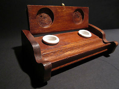 Antique Style Wood Writing Double Inkwell Box Ink Pot Porcelain - Early Home Decor