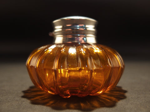 Vintage Antique Style Round Amber Glass Thick Glass Inkwell Ink pot Bottle - Early Home Decor
