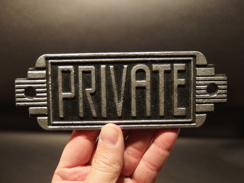 Antique Vintage Style Cast Iron Private Employees Only Room Sign - Early Home Decor