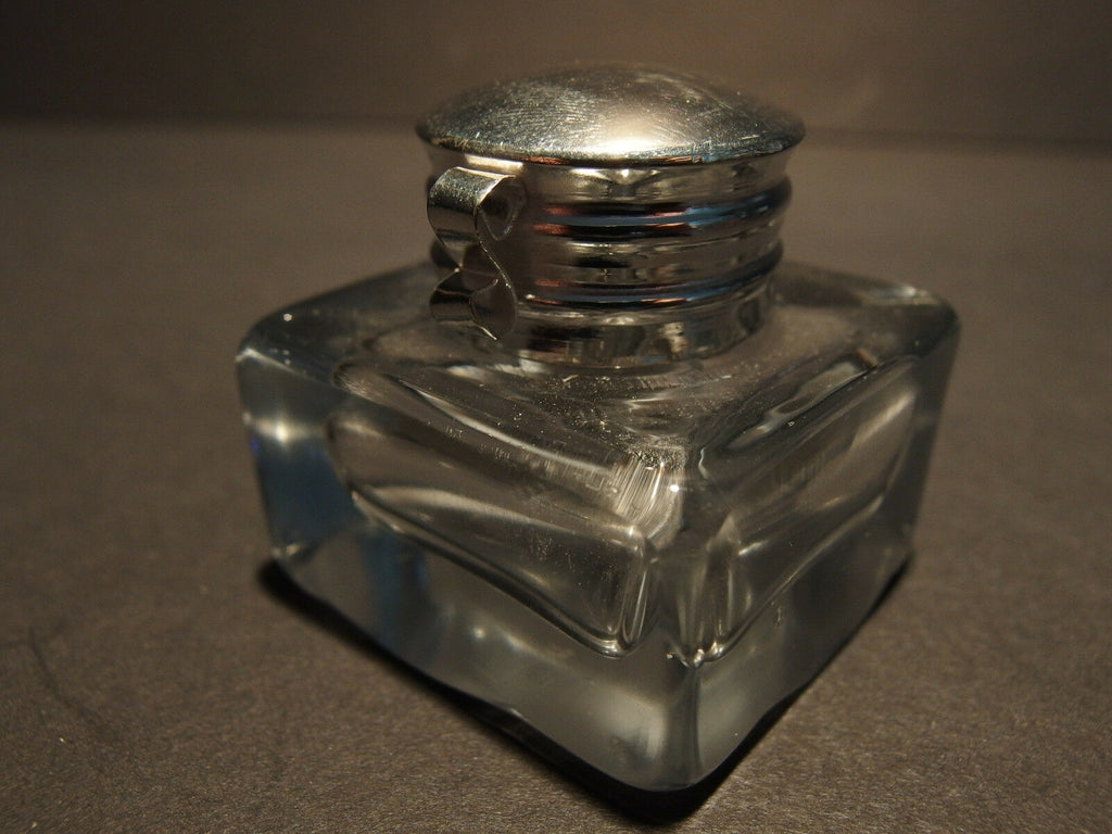 Vintage Antique Style Solid Clear Square Thick Glass Inkwell Ink pot Bottle - Early Home Decor