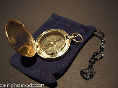 Antique Style Solid Brass Pocket Compass flip lid Signal mirror with bag - Early Home Decor