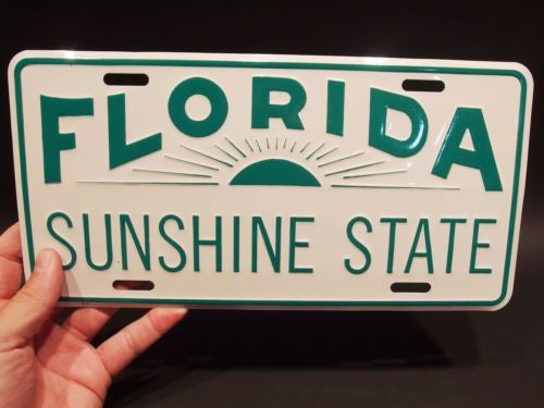 Vintage Antique Style Metal Florida Sunshine State License Plate Tag - Early Home Decor