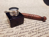Antique Style Glass Square Cobalt Blue Inkwell Ink Pot with Dip Calligraphy Pen - Early Home Decor