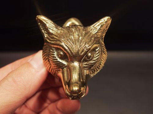 Antique Vintage Style Small Solid Brass Fox Door Knocker Hardware - Early Home Decor