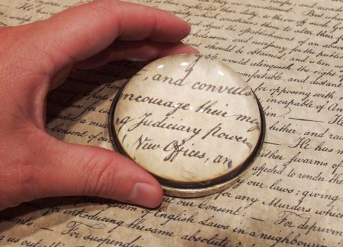 Vintage Antique Style Solid Brass Heavy Glass Magnifying Desktop Lens - Early Home Decor