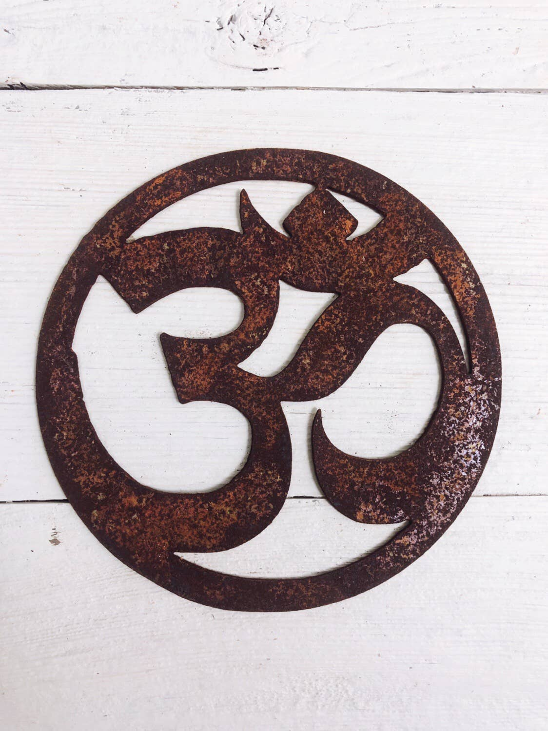 "Ohm Sign  - 12"" Tall Rusty Metal Sign"