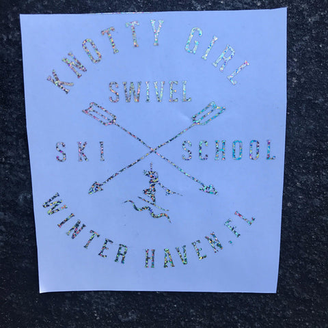 Knotty Girl Swivel Ski School Decal