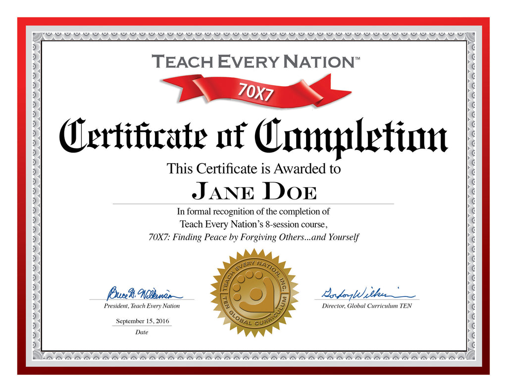 70X7 Certificate of Course Completion Download Free – Teach Every ...