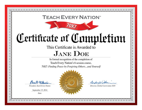 70x7 Certificate Of Course Completion Download Free
