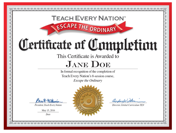 """Escape The Ordinary"" Certificate of Course Completion ..."