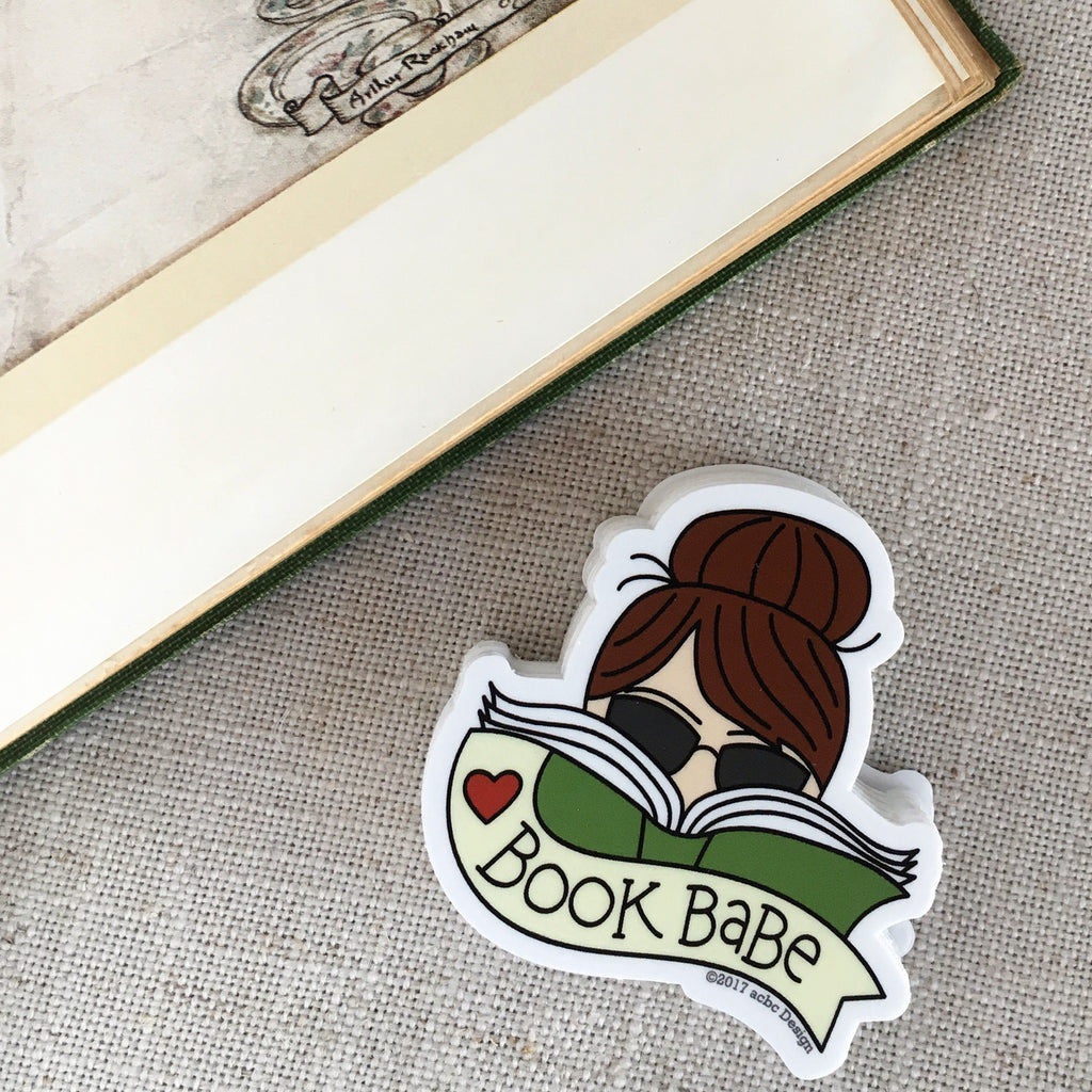 Book Babe Brunette Vinyl Sticker