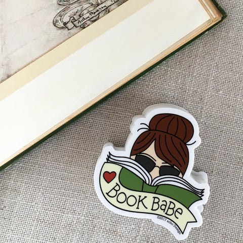 Brunette Book Babe Vinyl Sticker