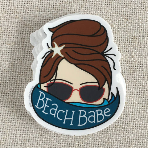 Brunette Beach Babe Vinyl Sticker
