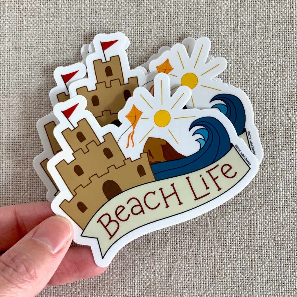 Beach Life Sandcastle Vinyl Sticker