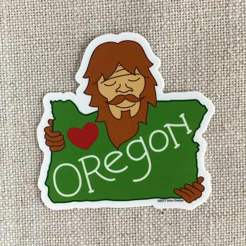 Bigfoot Loves Oregon Vinyl Sticker