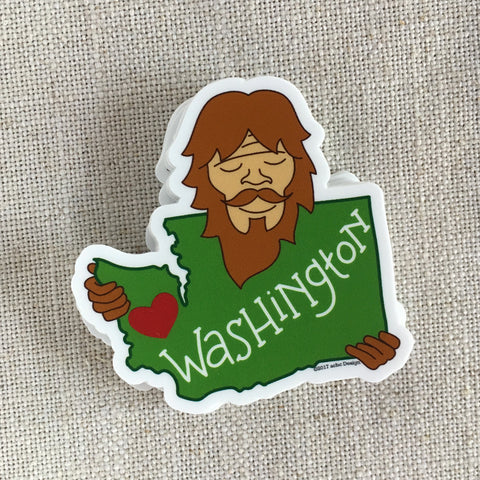 Bigfoot Loves Washington Vinyl Sticker